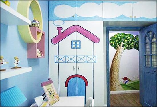 手绘墙非常简单,风格清新宜人,家居摆设为现代风格,整体色调甜美可爱