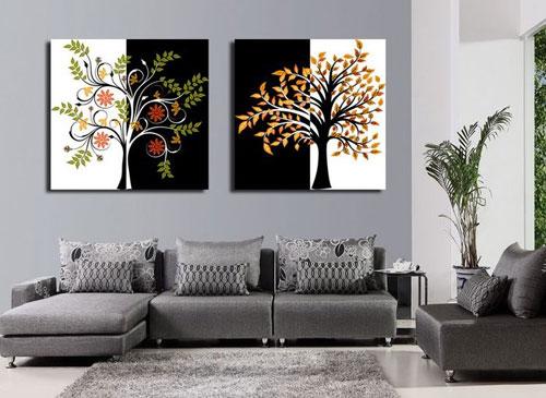 一般现代家装风格的室内,整体以白色为主,在配装饰画时多以暖色调为主