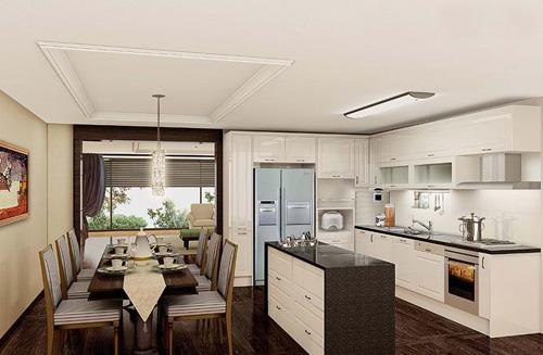 开放式厨房吊顶安.开放式厨房装修安装集成灶怎样?图片