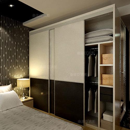 索菲亚 定制衣柜 简约风格 推拉门定做整体组合 格拉斯布纹平板衣柜