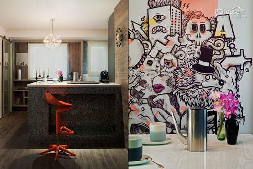 出现在餐厅墙面一侧的涂鸦在圣保罗的街头随处可见,如今成为了餐厅最