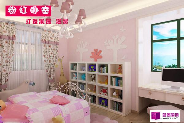 粉紅臥室可以在墻面采用粉色的墻漆,墻紙,顏色鮮艷的卡通家具.