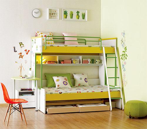 红苹果家具《苹果乐园》儿童套床白配柠檬黄配粉绿 上下爬梯床 板式