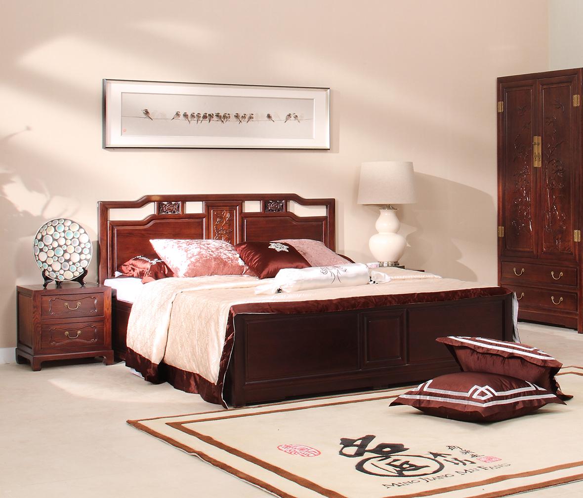 双人床 床架 祥云床 榆木材质 中式古典  眼缘:0  大自然 实木床 016