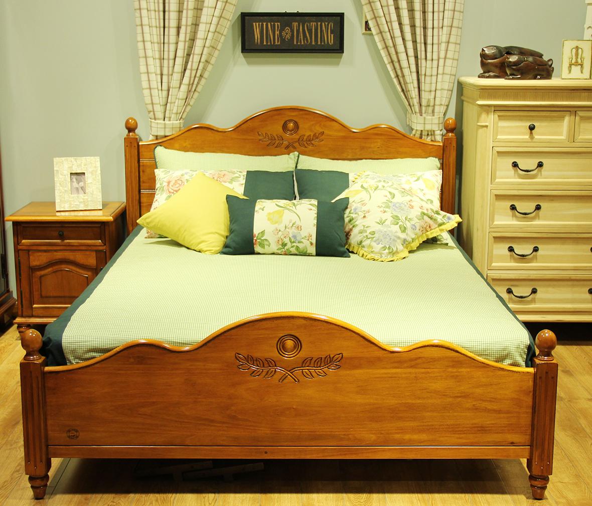 迦南橄榄树 8805-qb型号 小床 实木板材 榫卯结构 欧式风格