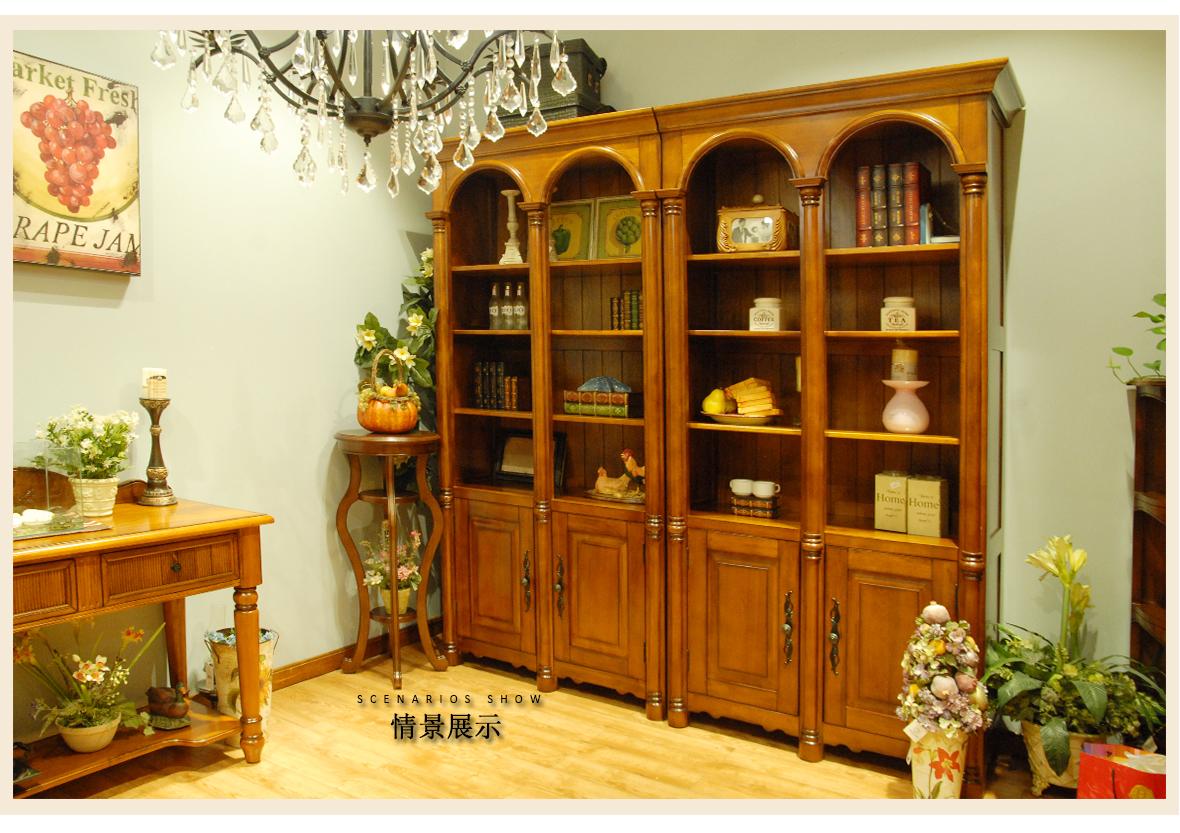 迦南橄榄树 701-bc型号 组合书柜边柜 实木板材 榫卯结构 欧式风格