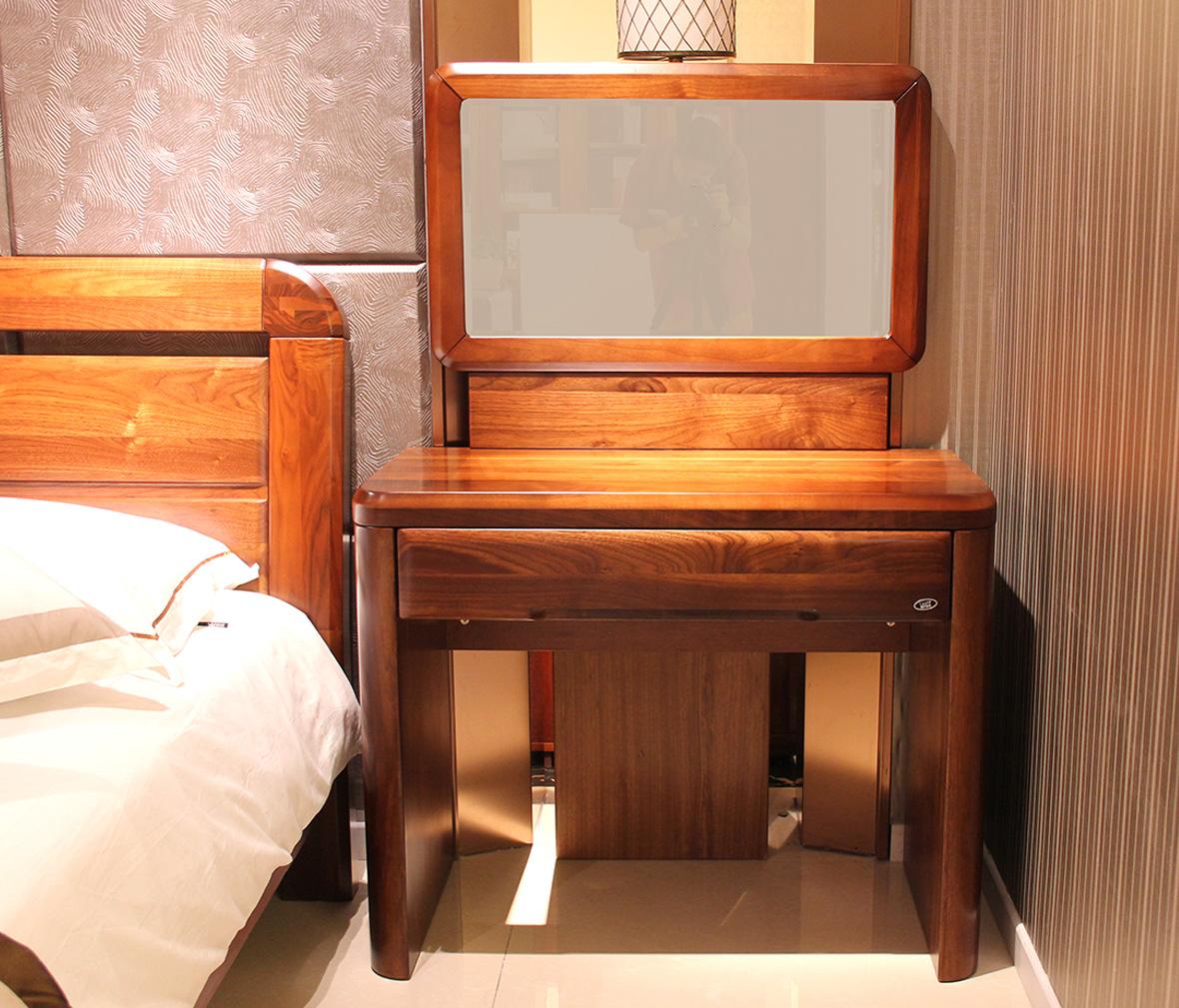 赖氏家具 胡桃木梳妆台整套lsc02型号 进口实木 现代简约风格图片