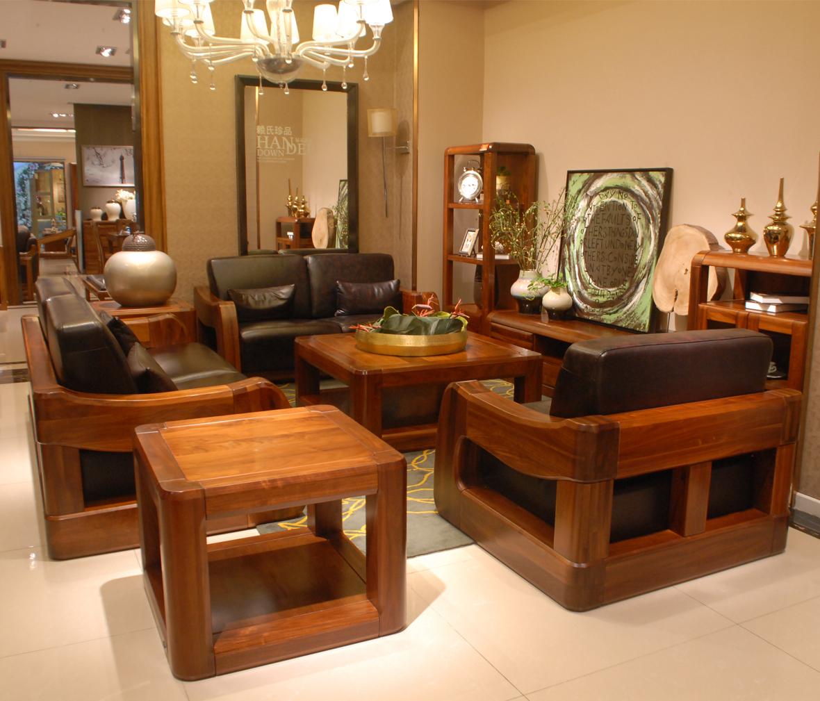 赖氏家具 胡桃木单人沙发图片