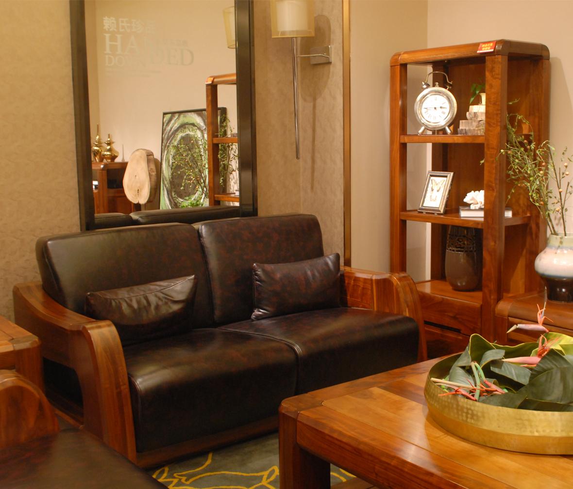 赖氏家具 胡桃木双人沙发图片