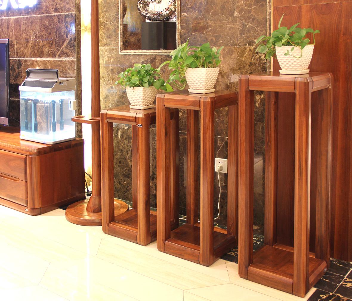 赖氏家具 胡桃木中花架lsw01b型号 纯实木 现代简约风格