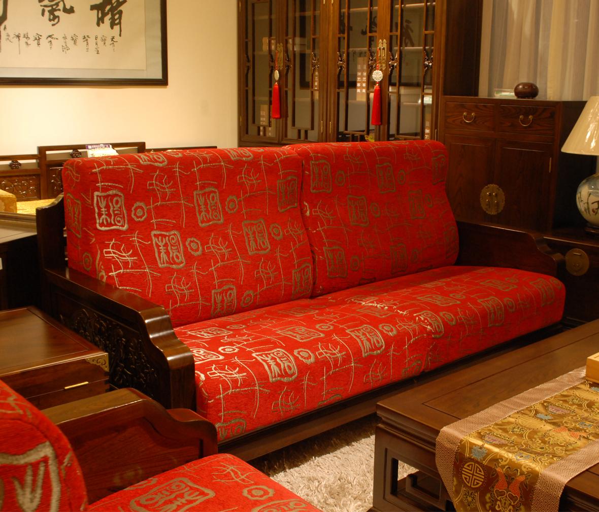 红色中式沙发贴图素材