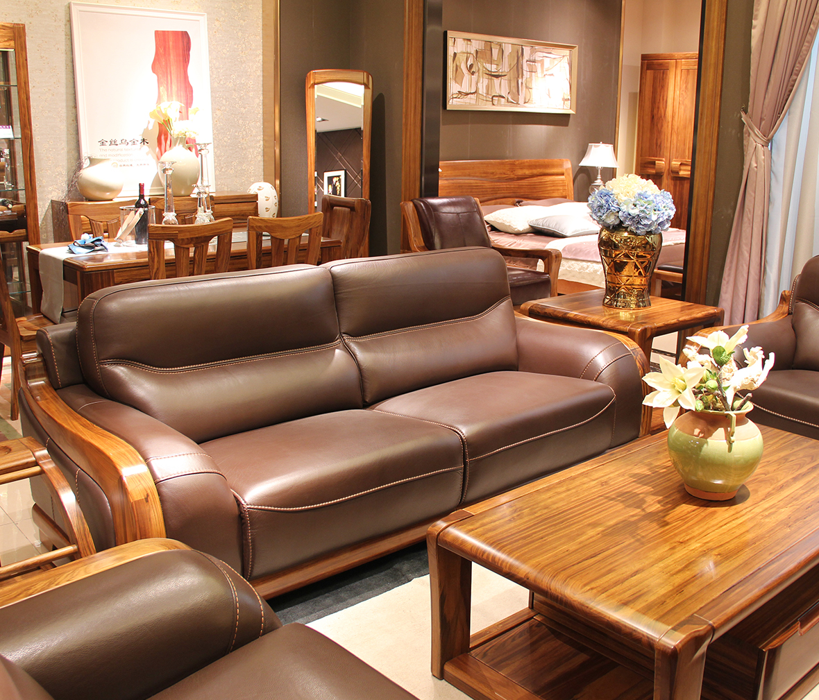 赖氏家具 乌金木三人位沙发wjj06c型号图片