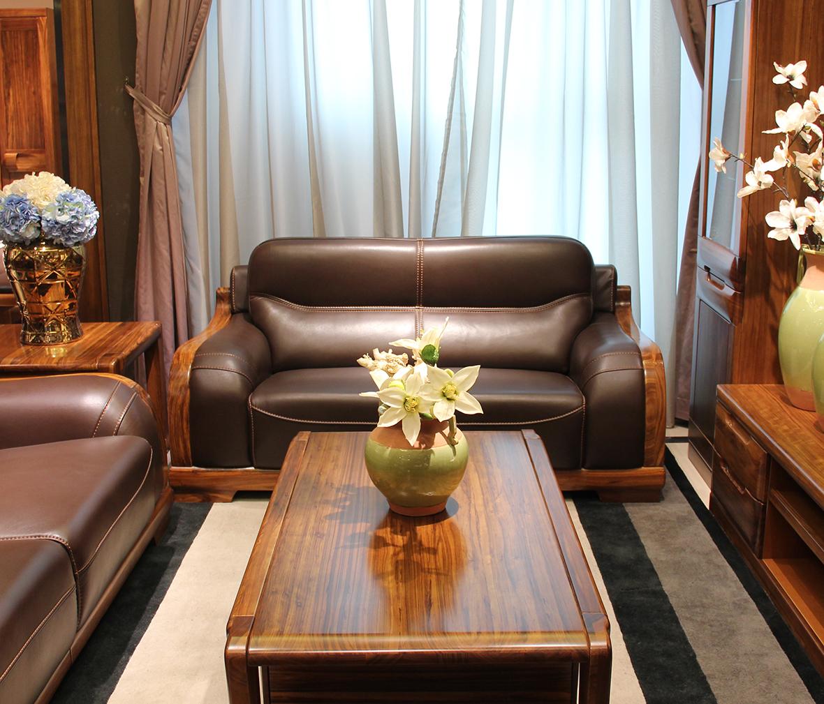 赖氏家具 乌金木双人位沙发wjj06b型号图片
