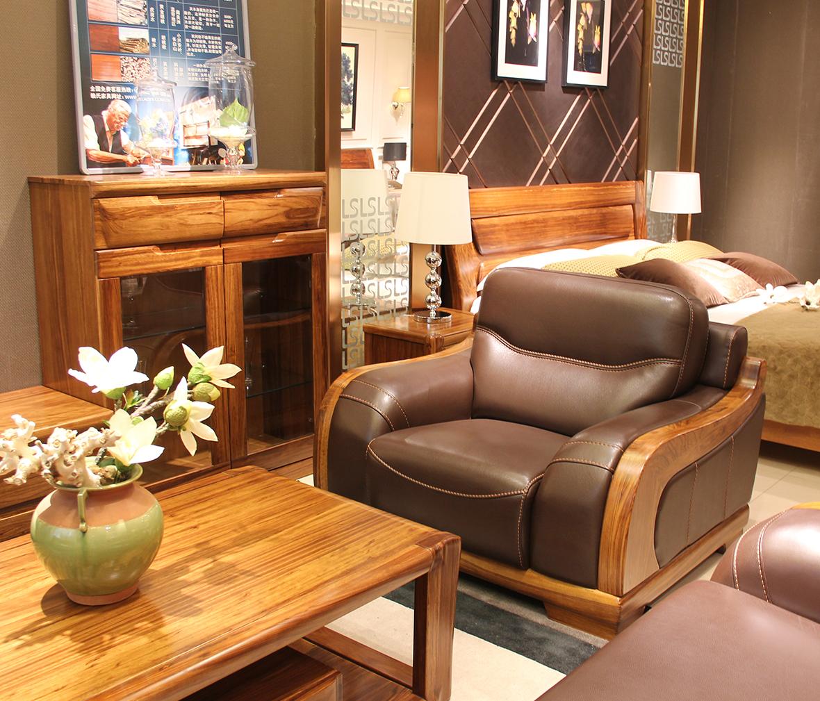 赖氏家具 乌金木单人位沙发wjj06a型号图片