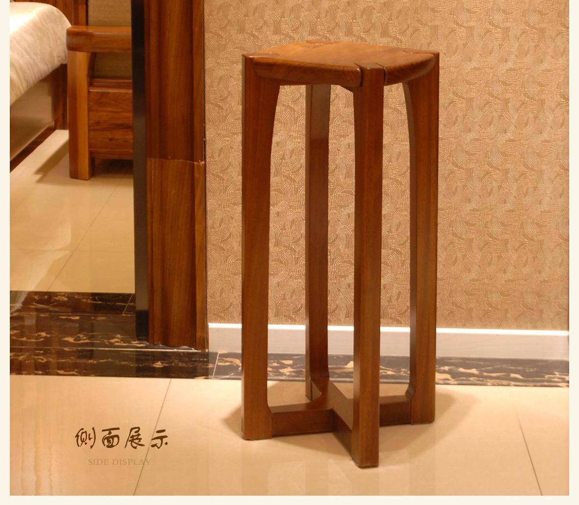 赖氏型号卖场木高花架WJW0101A家具v型号实木乌金合肥美式家具图片