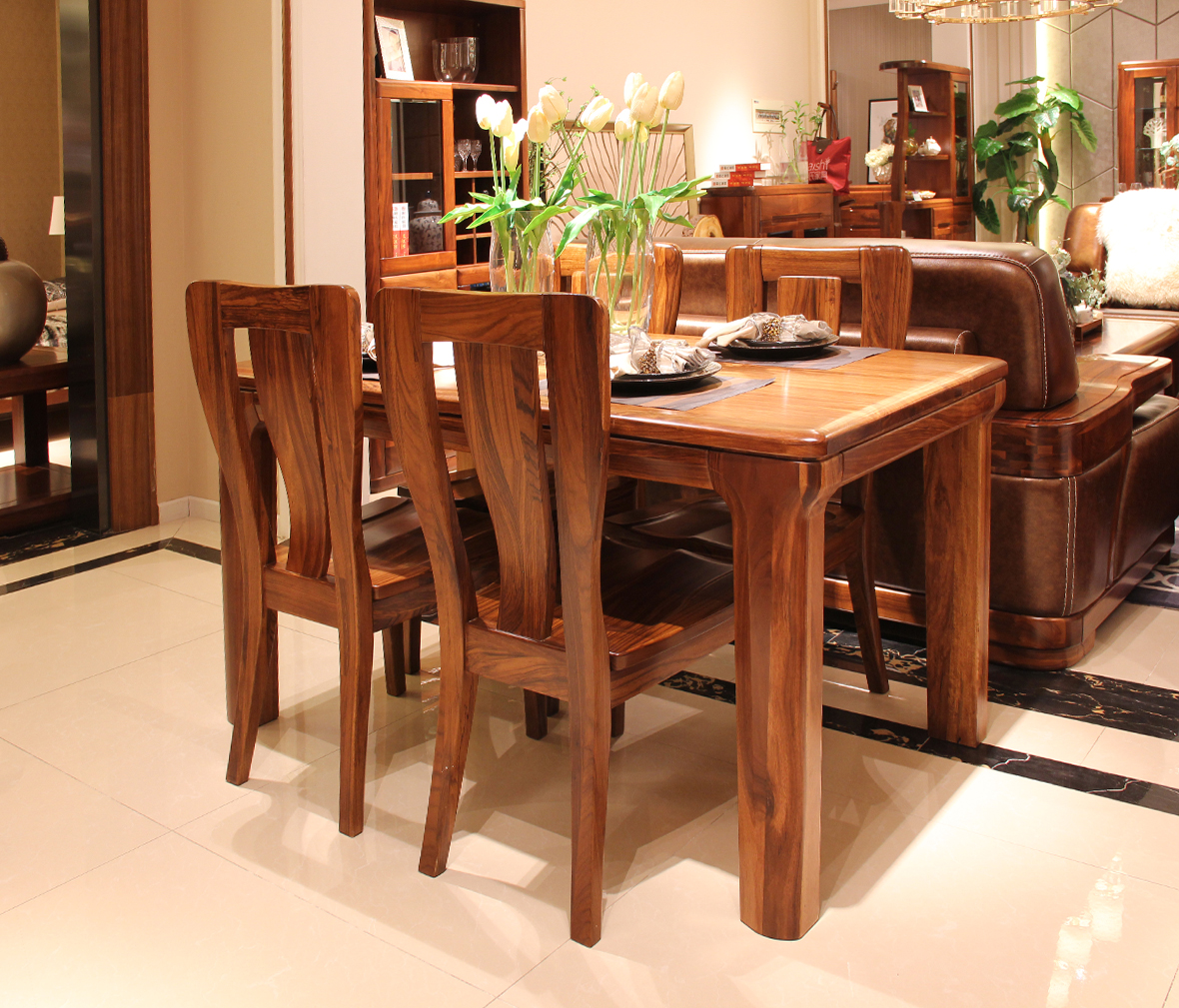 赖氏家具 乌金木餐椅wji01型号 纯实木 现代简约风格