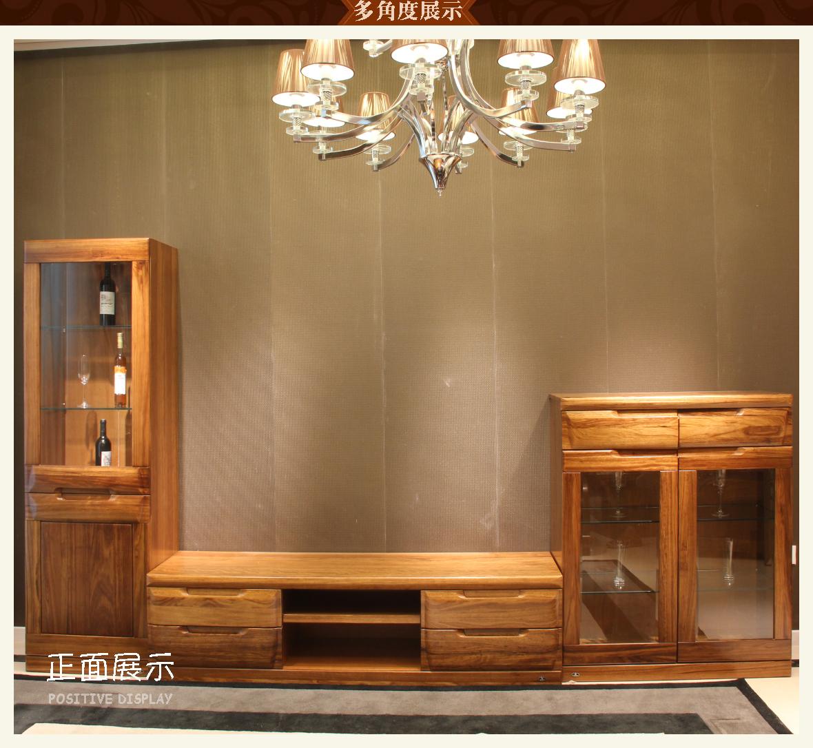 赖氏家具 乌金木组合厅柜(整套)wjk03型号 进口实木
