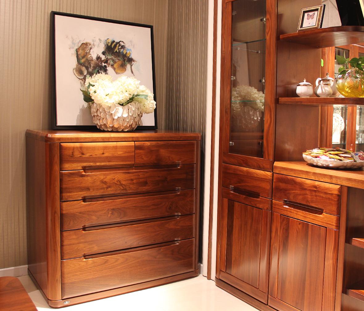 赖氏家具 胡桃木六斗柜lsf02型号 进口实木 现代简约风格图片
