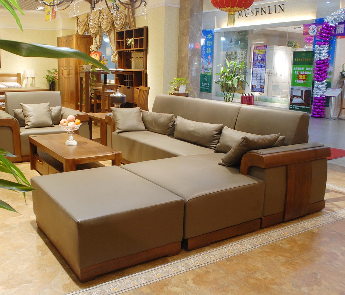 水曲柳三人沙发 中式古典