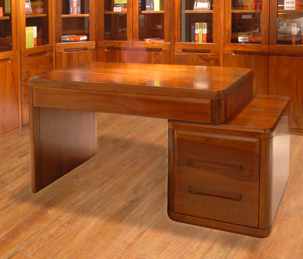 赖氏家具 胡桃木写字台(整套)lsg02型号 进口实木 现代简约风格