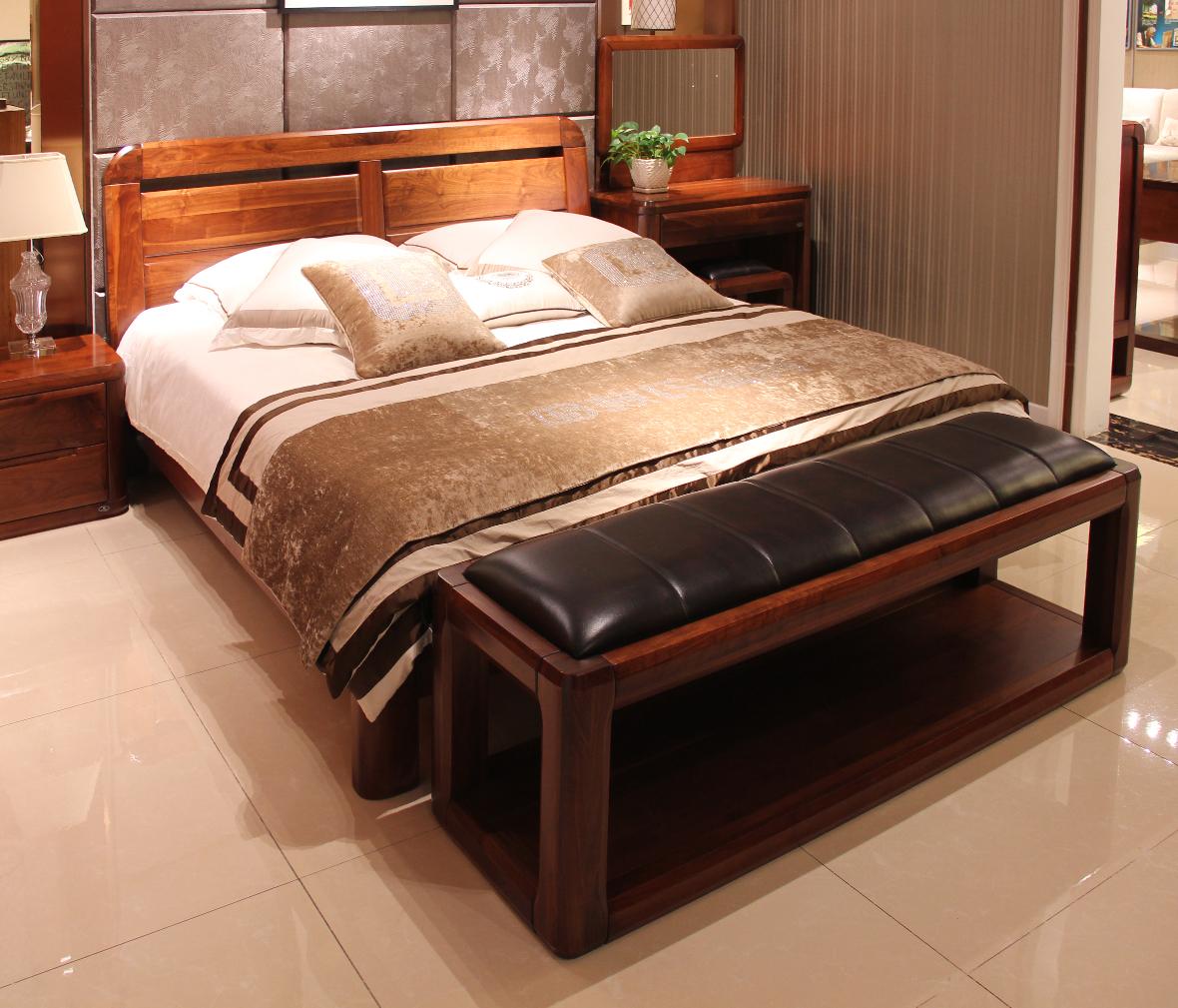 赖氏家具 胡桃木双人床ls-b0218 u0118型号 进口实木图片