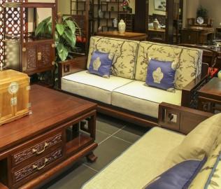 兰鼎犀,双人沙发,榆木材质