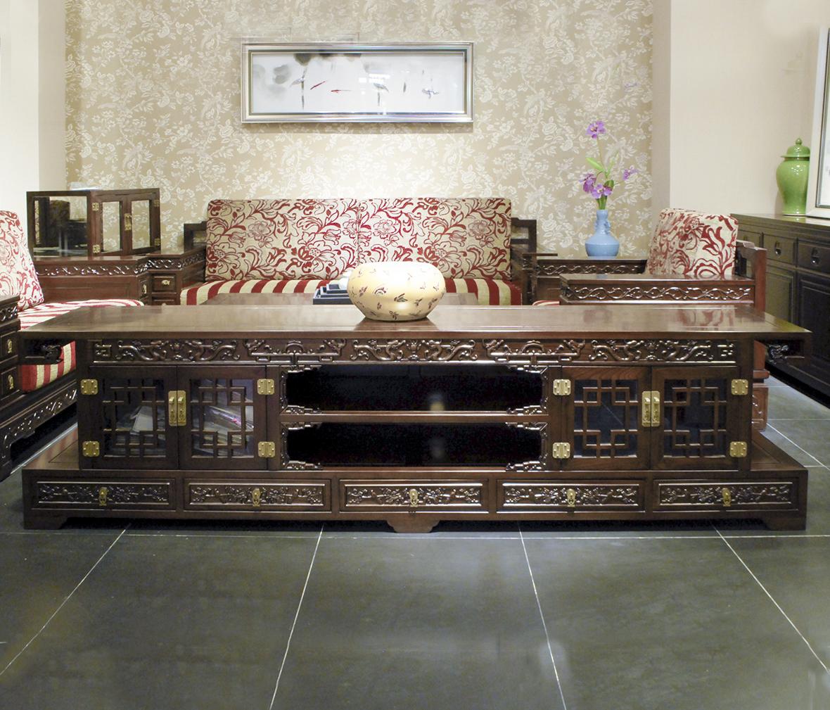 兰鼎犀 ygl-034型号 满雕电视柜 榆木材质 中式古典