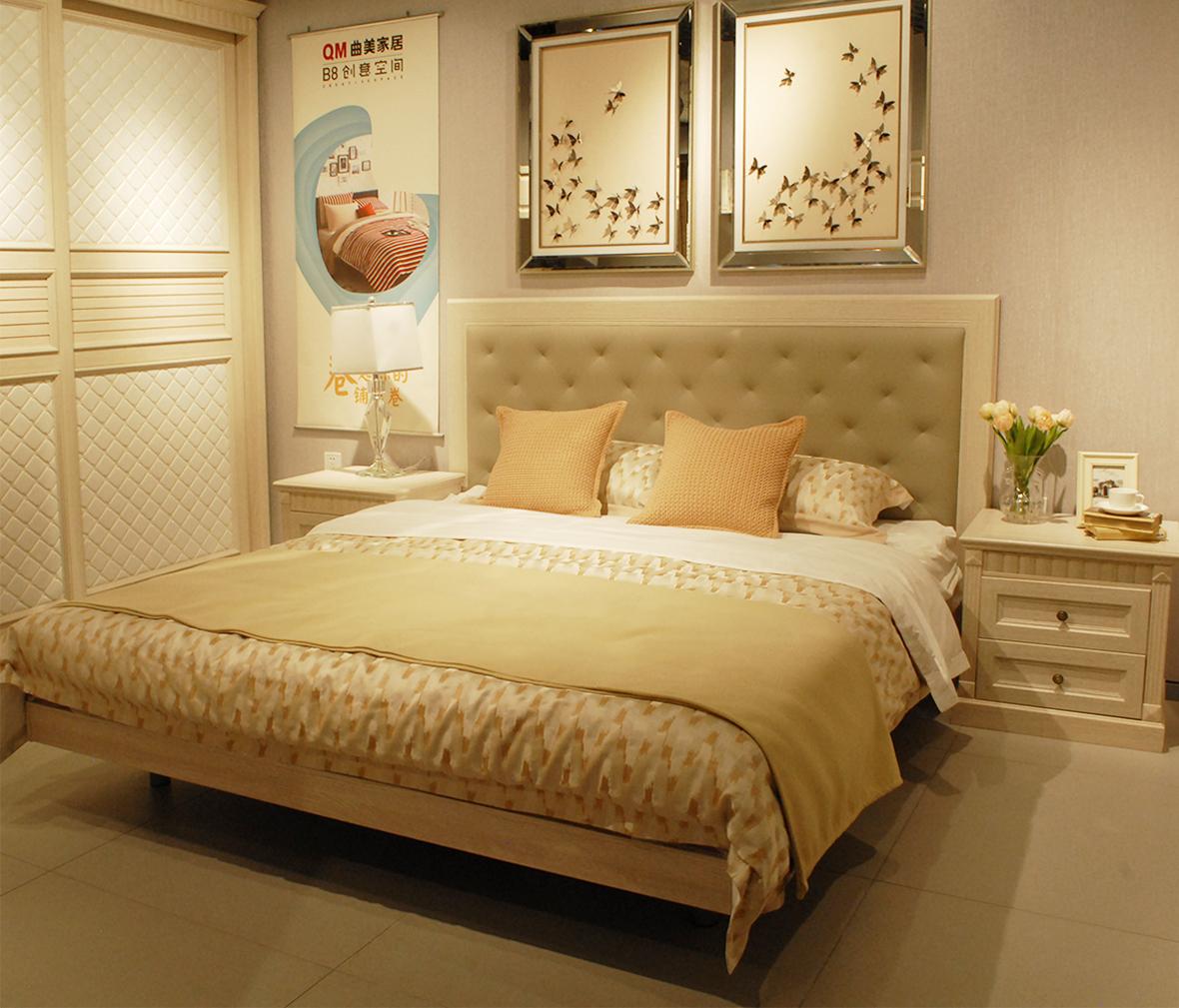 欧式床头柜 实木颗粒板图片