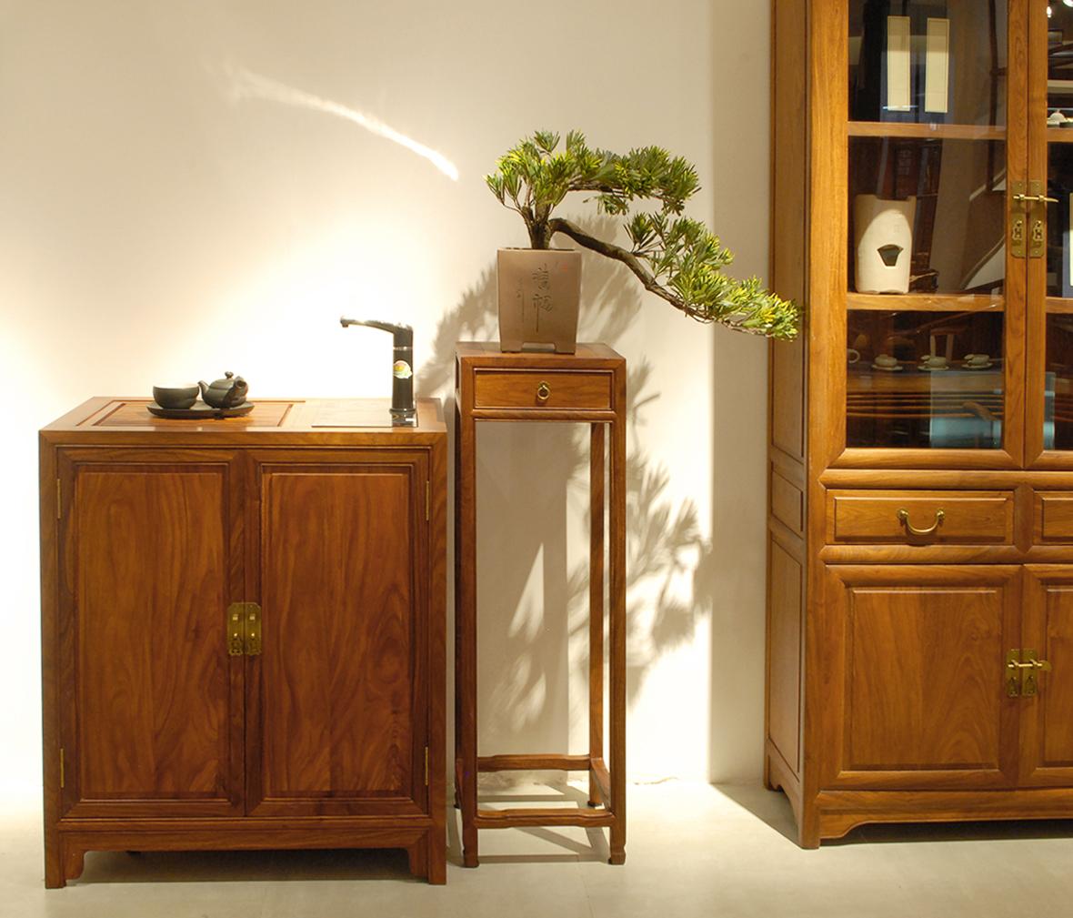 真盏堂 美盈家居 两门功能茶水柜 柜子 花梨木 中式古典