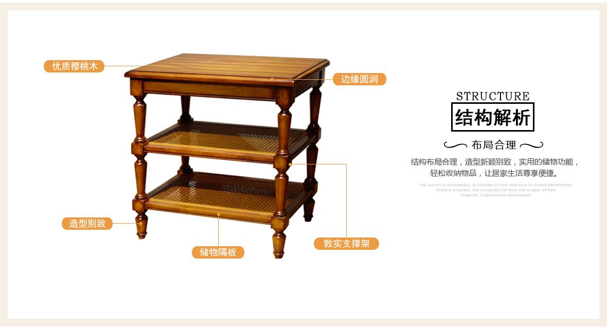 黎曼·艺术家 LM-A25型号实木床边柜 美国优质樱桃木 商品结构