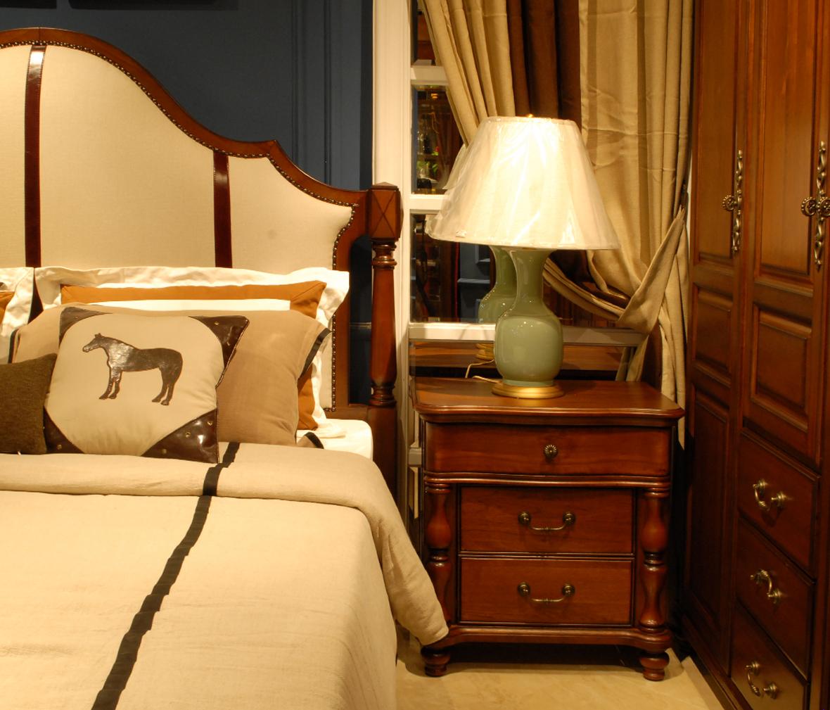 北卡罗 801-ctg型号 核桃木材质实木床头柜 柜子 实木家具图片