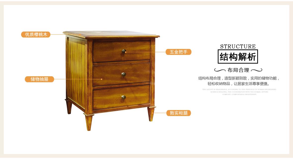 黎曼·艺术家 LM-A24型号实木床边柜 美国优质樱桃木 商品结构