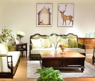 黎曼,实木家具,三人沙发