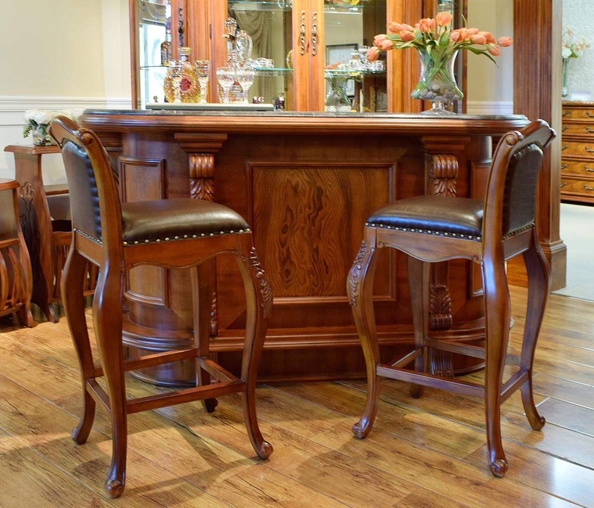 伯爵庄园 x7581-2型号美式古典实木吧椅 百年工艺打造图片