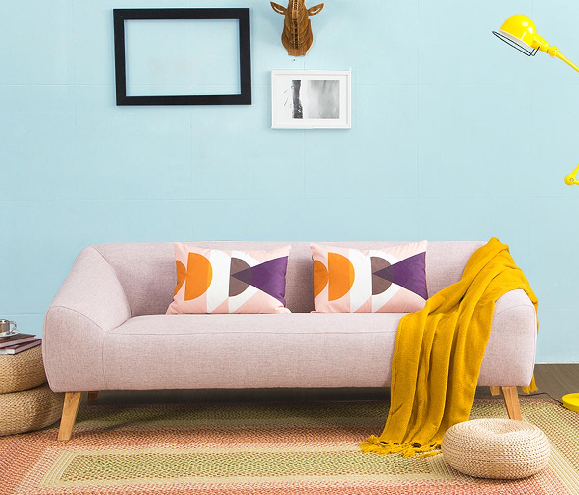 曲美家具 16lw-s21型号双人沙发 现代简约布艺沙发图片