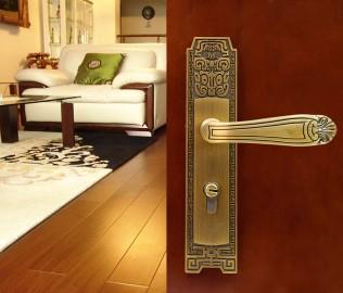 优诺,门锁,黄古铜