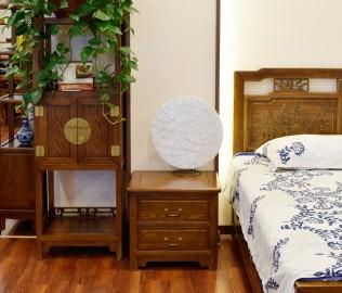 瀚明轩,床头柜,榆木家具