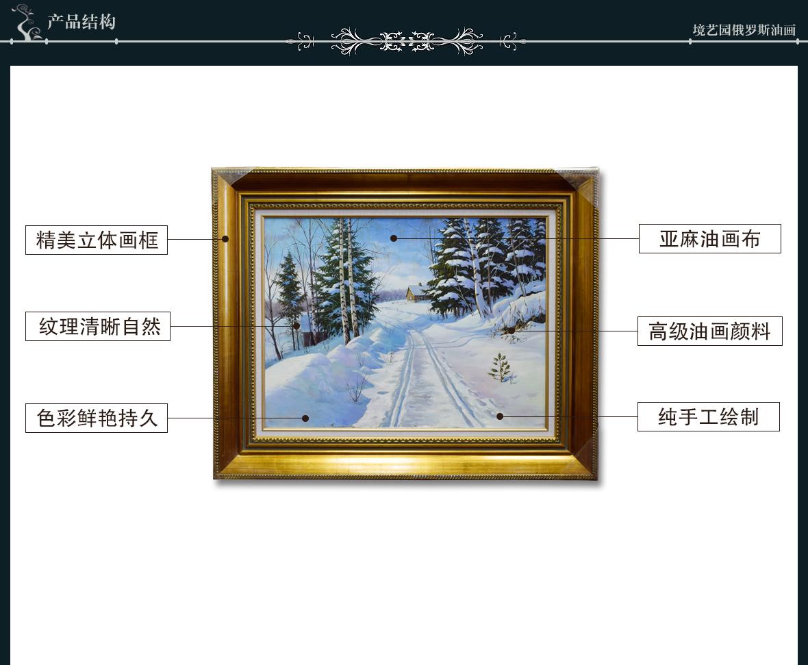 境艺园俄罗斯油画 W346型号俄罗斯进口亚麻主材风景雪景 结构