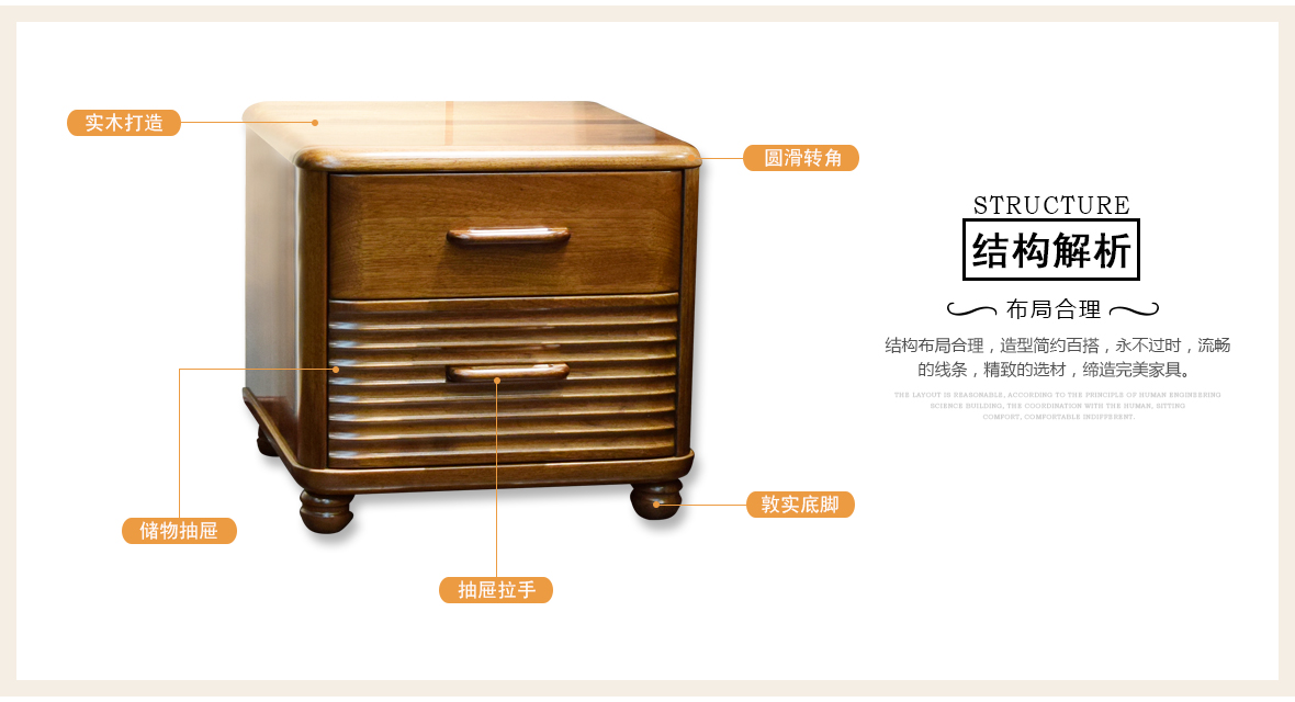 摩纳戈家具C1603型号床头柜商品结构