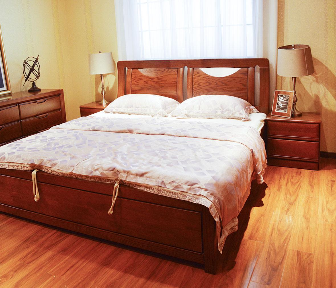 绿芝岛家具 9001#现代中式实木床头柜 北美红橡木储物床头柜