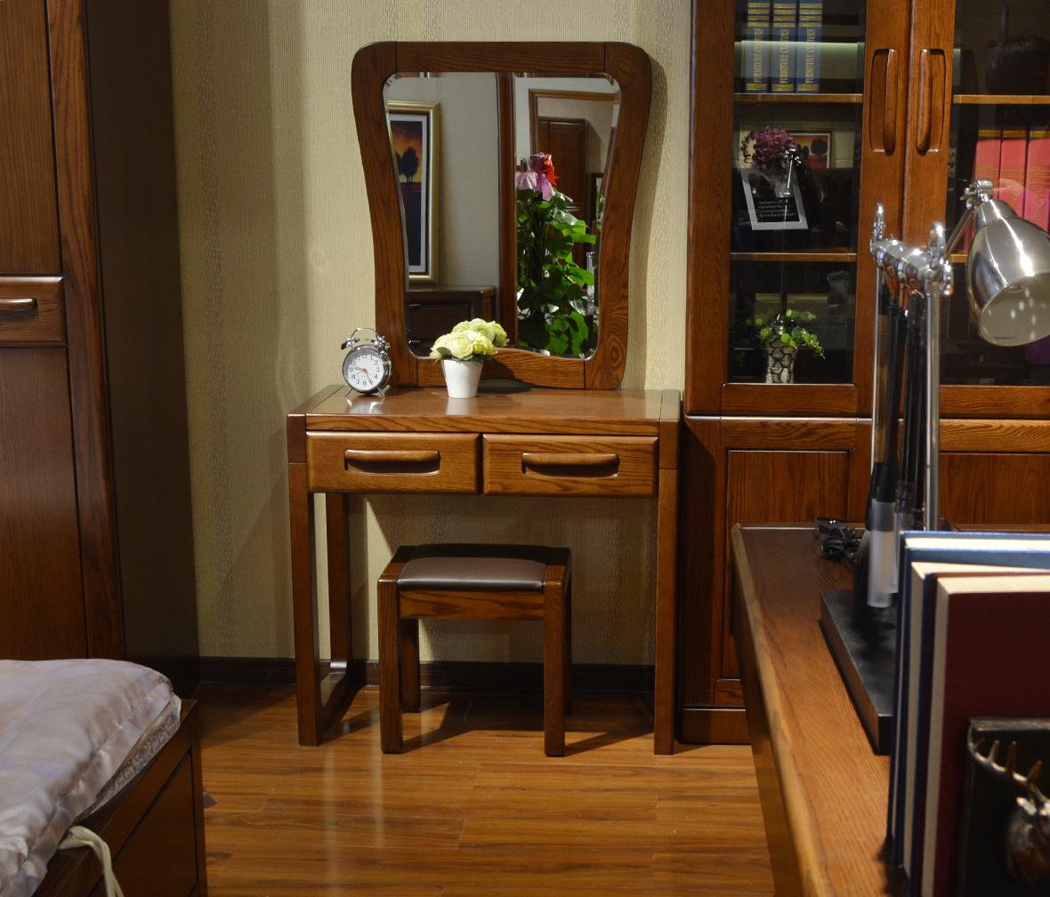绿芝岛家具 1203#48现代中式实木梳妆台 北美红橡木梳妆台