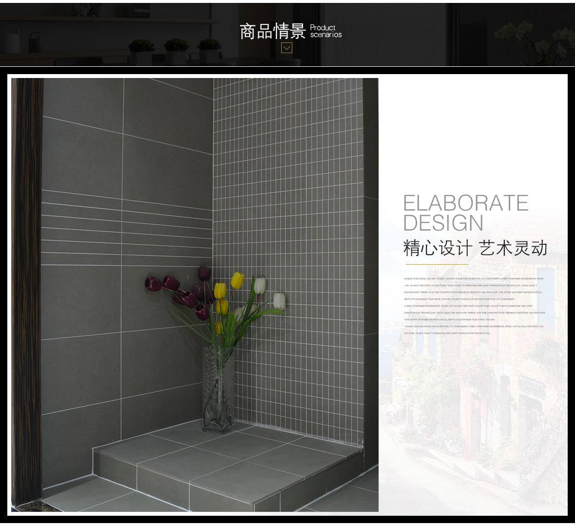 罗马磁砖 503地型号环保瓷质地砖 厨房卫生间地砖/主砖/大砖 情景
