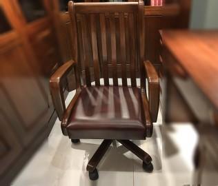 摩纳戈,皮转书椅,实木家具