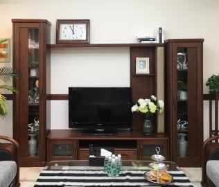 双叶家具,厅柜组,实木厅柜