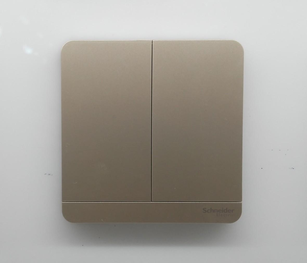 施耐德 蓝韵系列 双开开关 PC材质 耐高温 防漏电 安全插座 实拍