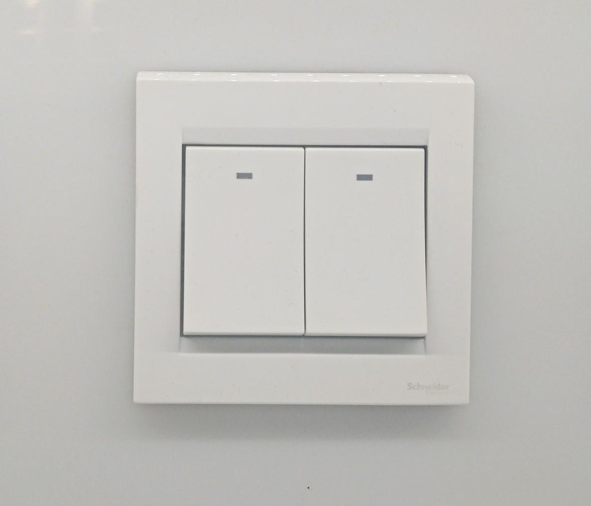 施耐德 如意系列 双开开关 PC材质 耐高温 防漏电 安全开关