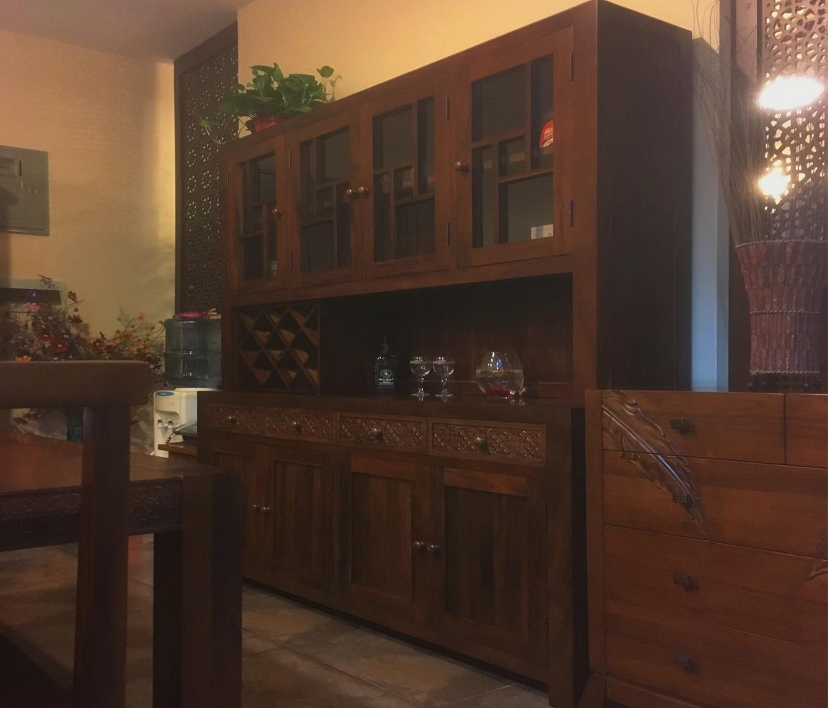 森林之源 df柜型号 现代中式风格楸木酒柜 实木家具图片