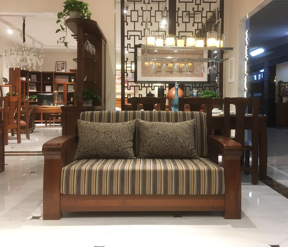 莫霞家居 112双人沙发 黑胡桃材质双人沙发 实木家具