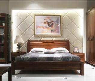 莫霞家居,黑胡桃床,实木家具