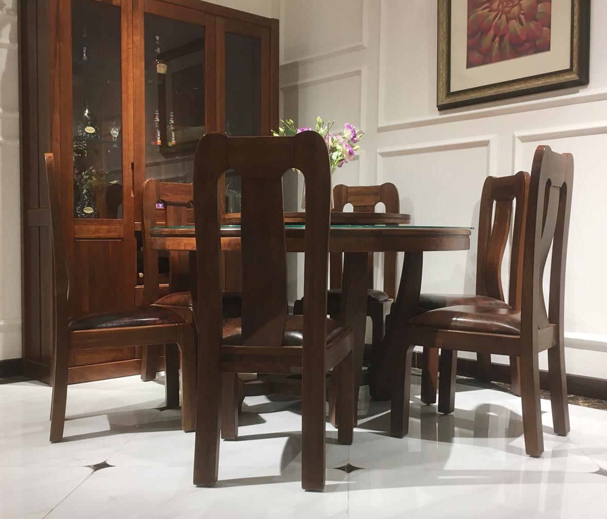 莫霞家居 103餐桌(含转盘) 黑胡桃材质圆餐桌 实木家具